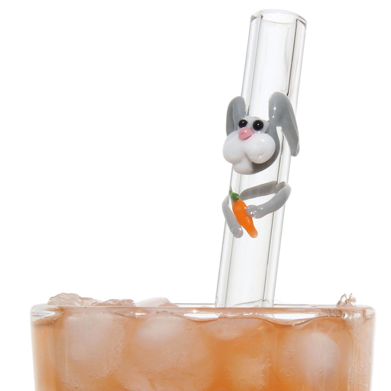 bunny rabbit reusable glass straw