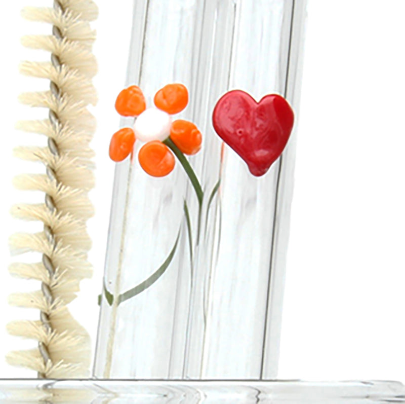 special occassion mother's day valentine's day set with flower and heart glass straw plus cleaning brush GlassSipper photo includes cleaning brush