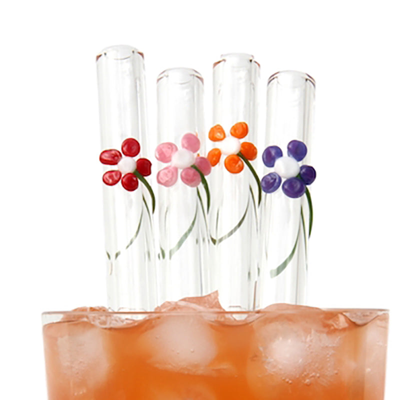 red, pink, orange and purple Flower Power Set of Four Glass Straws - Glass Sipper