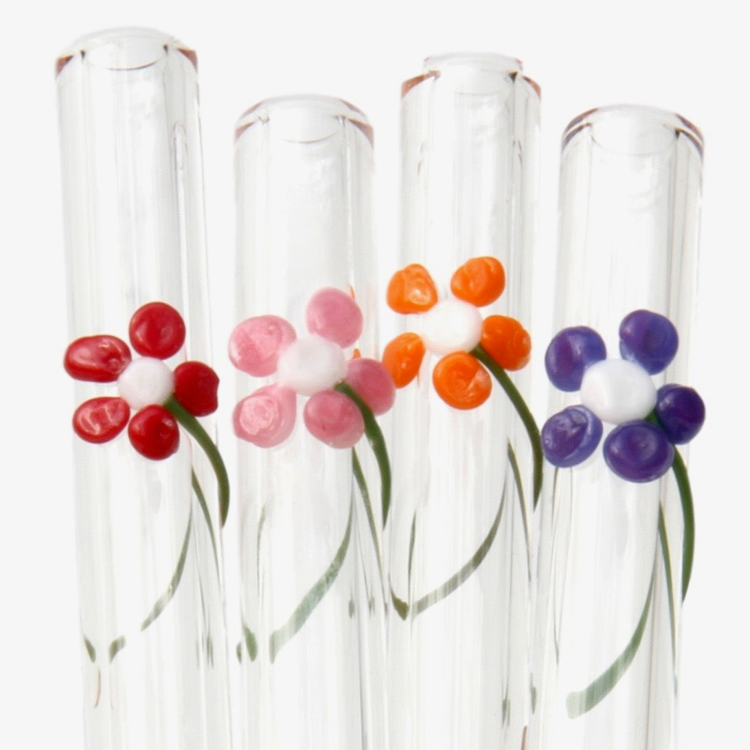 close up of red, pink, orange and purple flower glass straw set