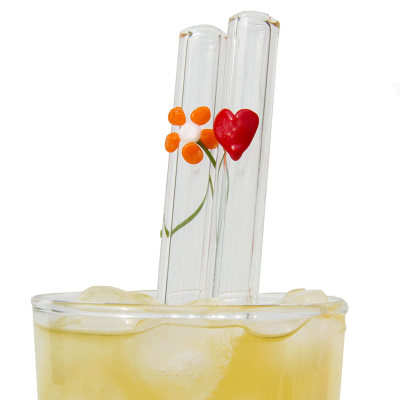 special occassion mother's day valentine's day set with flower and heart glass straw plus cleaning brush GlassSipper