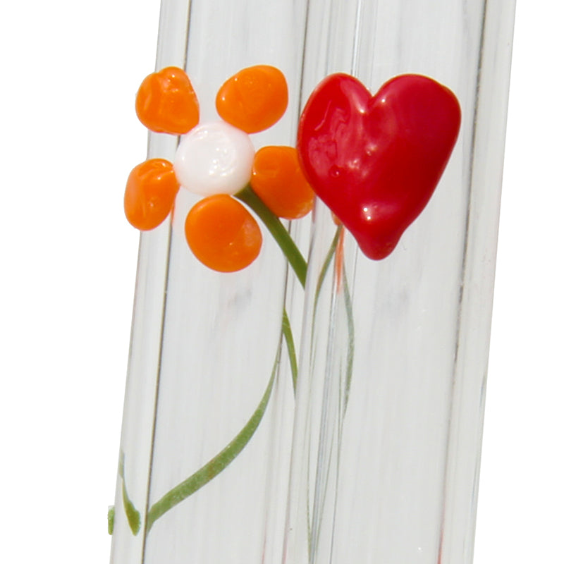 close up of special occassion mother's day valentine's day set with flower and heart glass straw plus cleaning brush GlassSipper