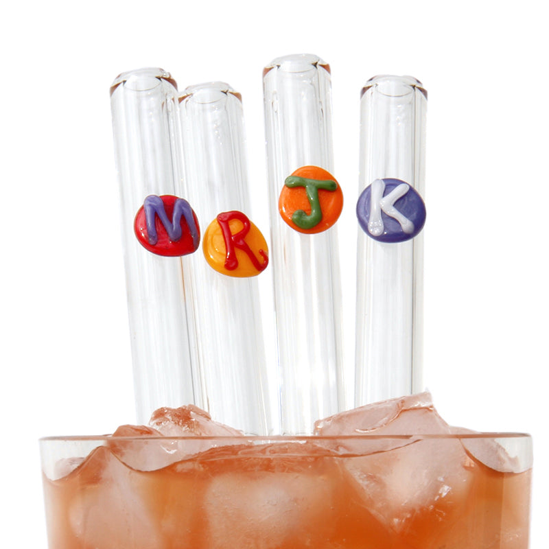 Monogrammed Letter Glass Straws - Glass Sipper
