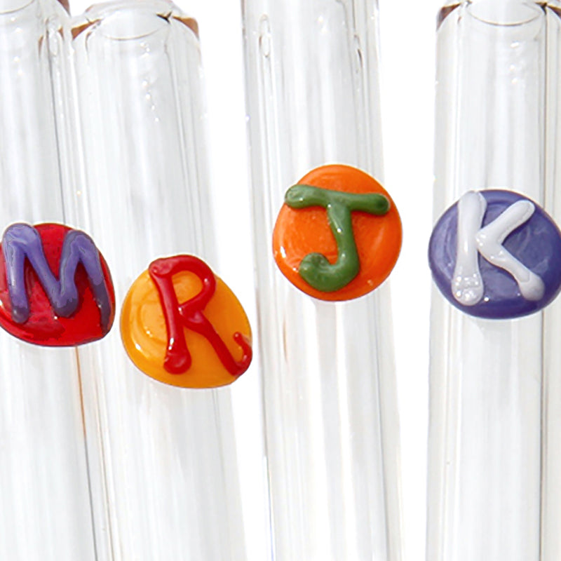 close up of family set Monogrammed Letter Glass Straws - Glass Sipper
