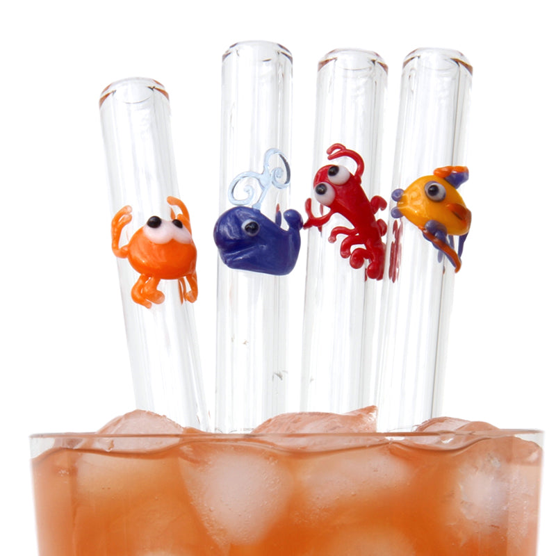 Deep Water Set GlassStraws - Glass Sipper with crab, whale, lobster and tropical fish