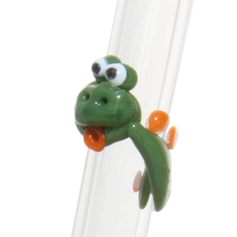 green dinosaur reusable glass straw zoomed in