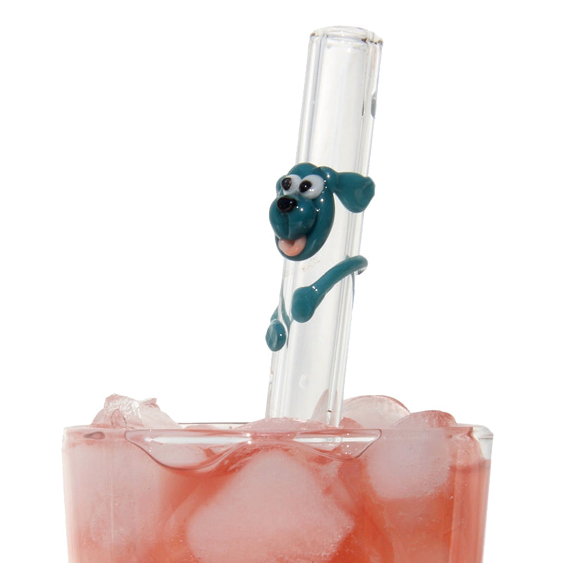 Teal Dog GlassStraws - Glass Sipper