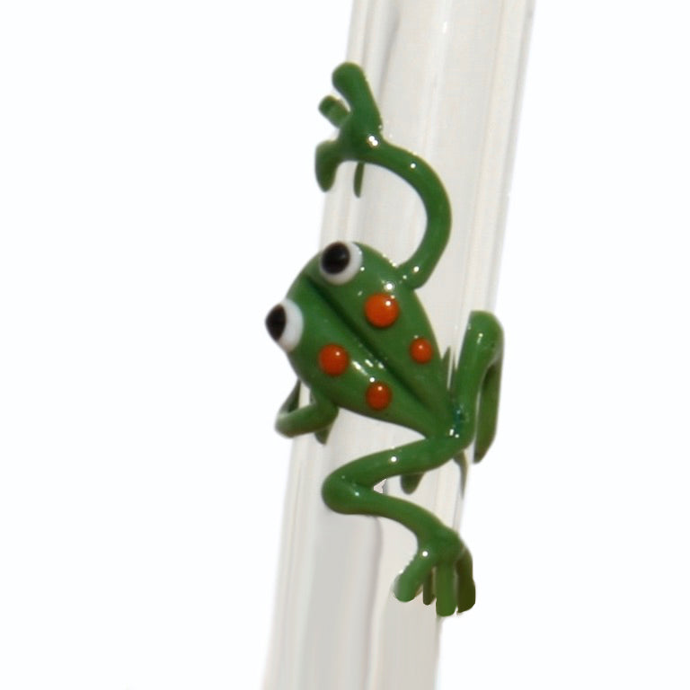 close up of Frog GlassStraws - Glass Sipper