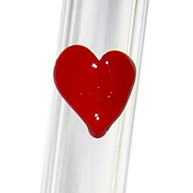 close up of Hearts GlassStraws - Glass Sipper