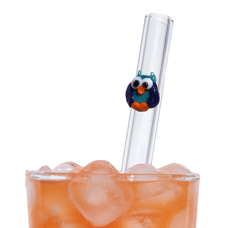 Owl GlassStraws - Glass Sipper
