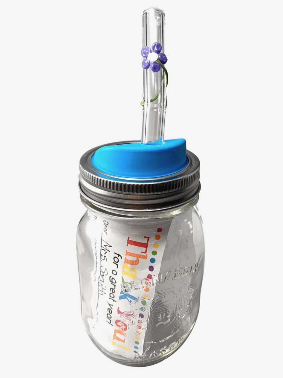 mason jar with reusable floral glass straw