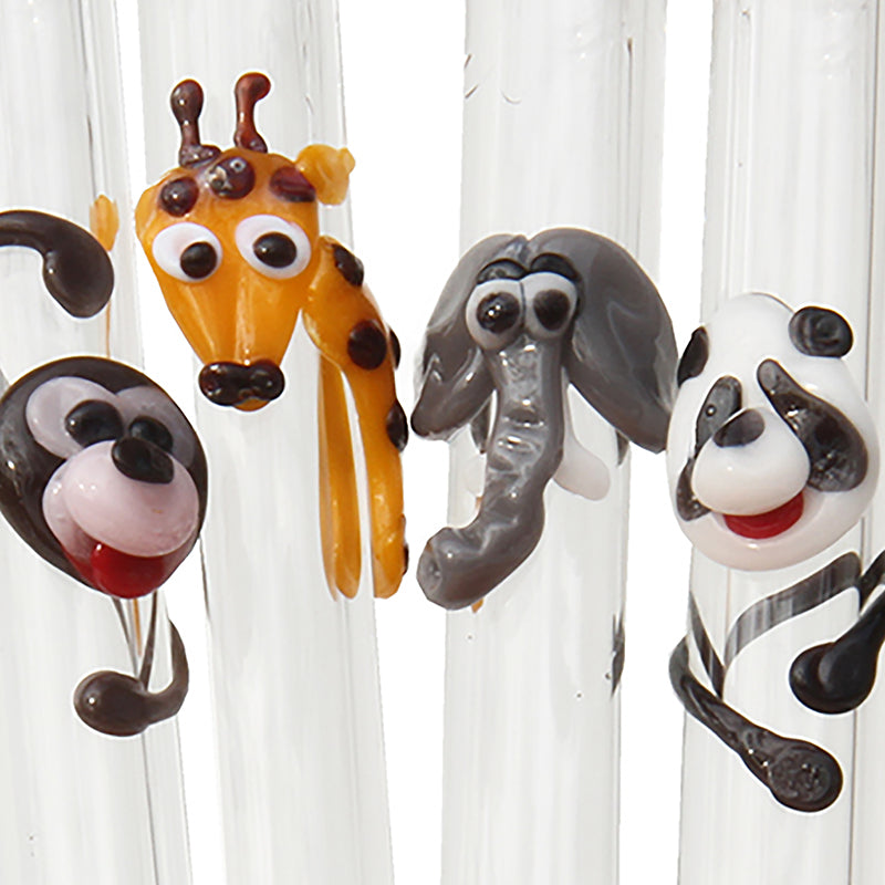 close up of panda, giraffe, elephant and monkey Wild Animal Glass Straw Set - Glass Sipper