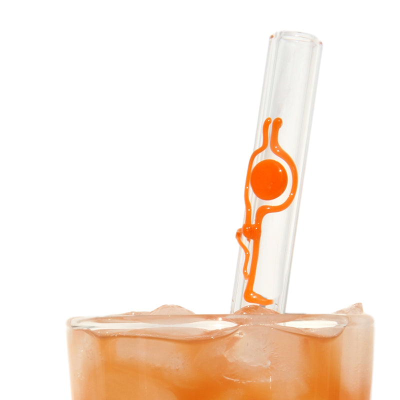 orange Yoga GlassStraws - Glass Sipper
