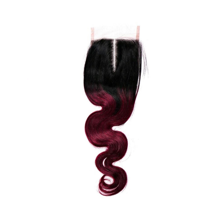 Crimson Ombré Body Wave Closure