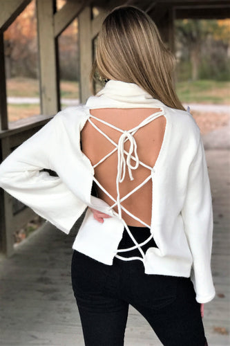 Winter White Open Back Sweater