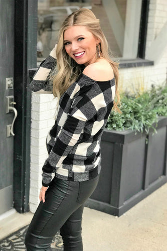 Lydia Black and White Plaid Top