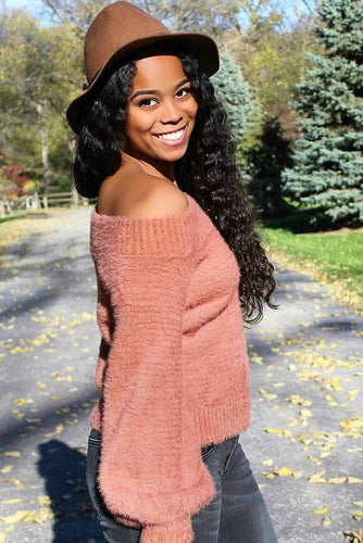 Fuzzy Apricot Off The Shoulder Sweater