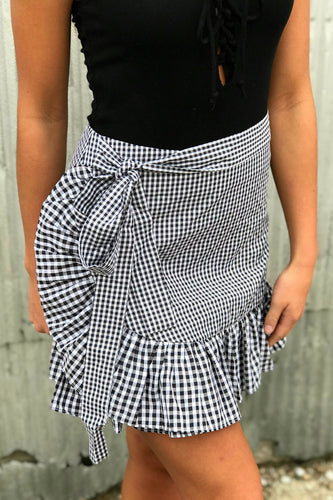 Too Cute Gingham Tie Skirt