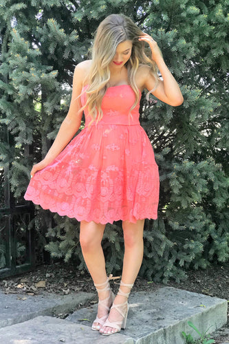 Tiffany Coral Lace Dress
