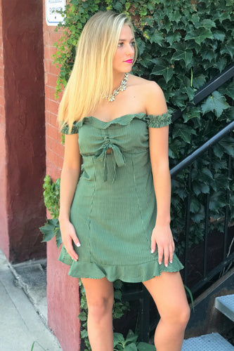 Lucy Olive Ruffle Dress
