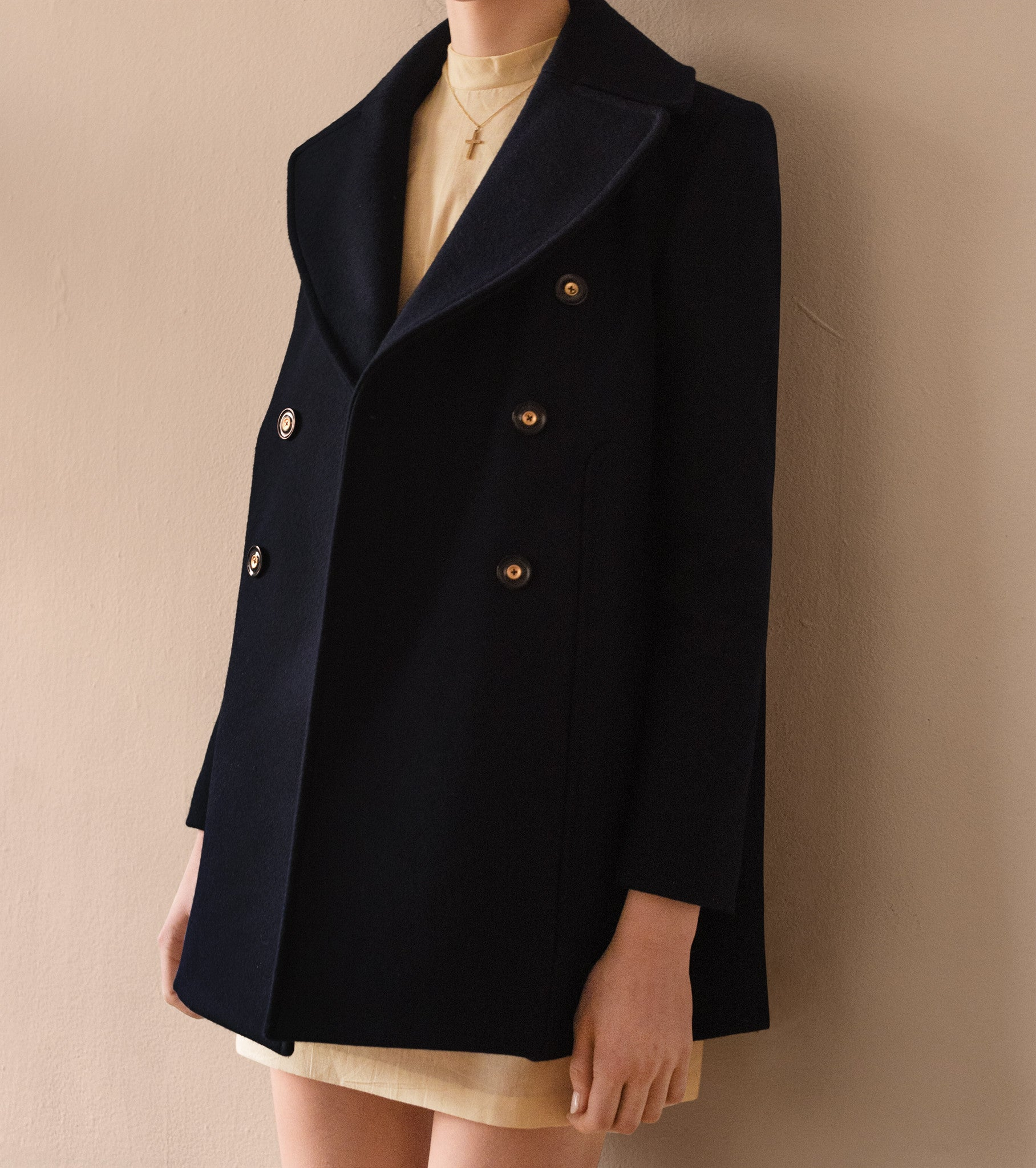 Melton Wool Navy Pea Coat