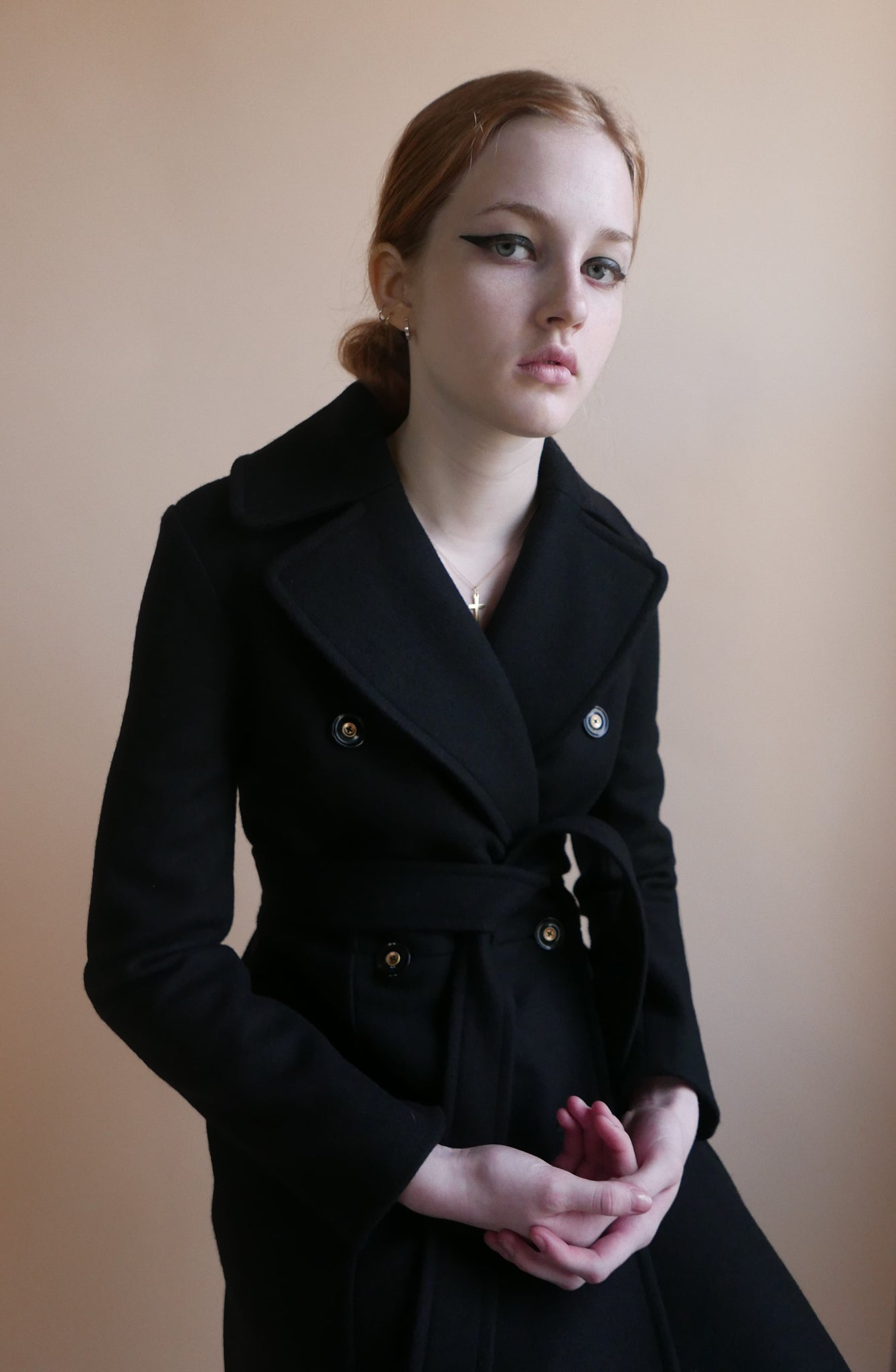 Black Melton Wool Belted Long Coat