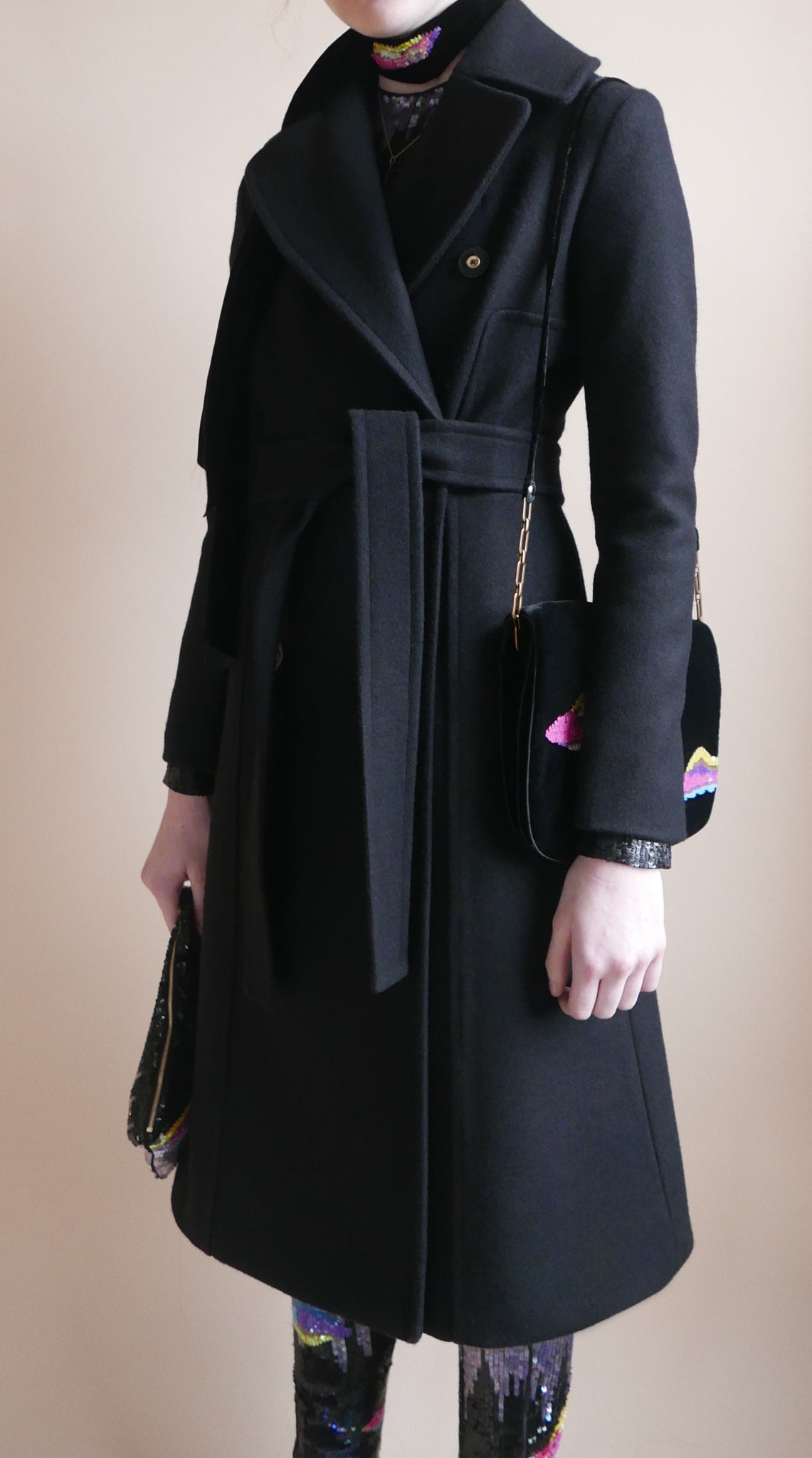 Lyell Black Melton Long Coat New