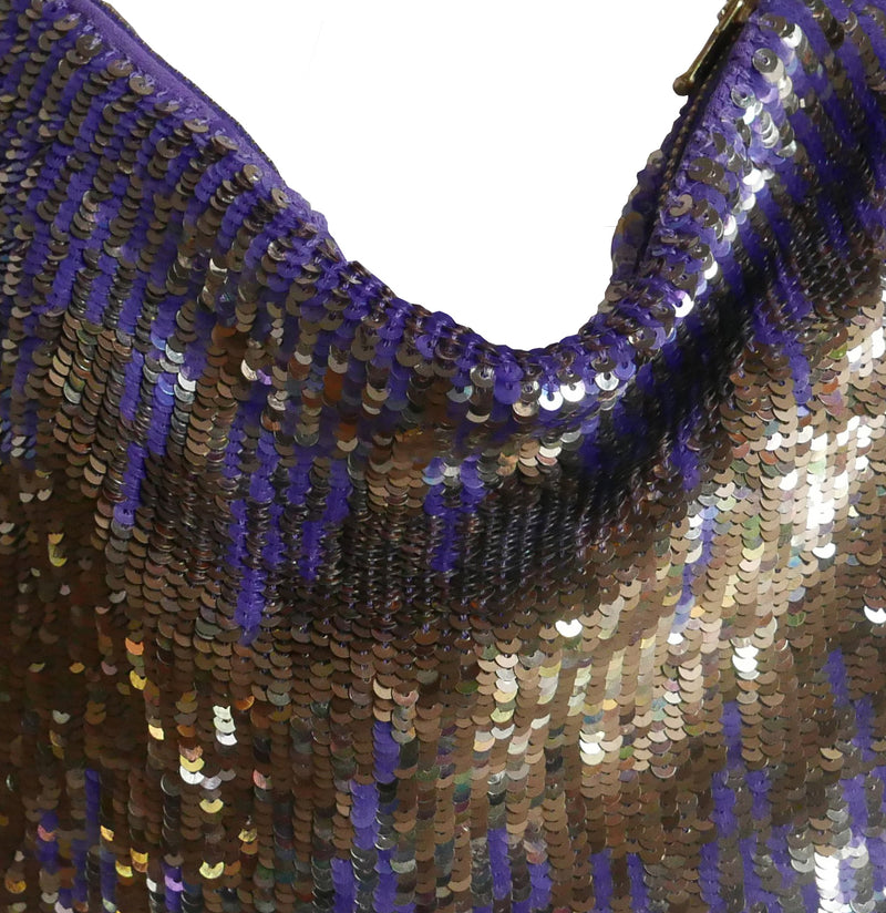 Lyell violet and gold hand sequined purse New