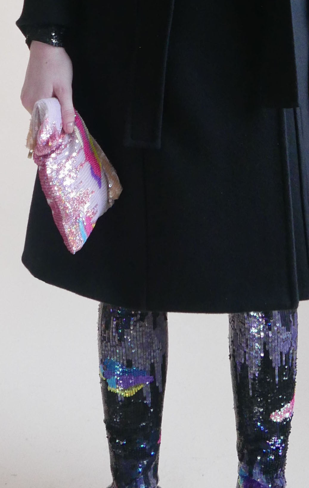 Floating clouds hand-sequined pouch