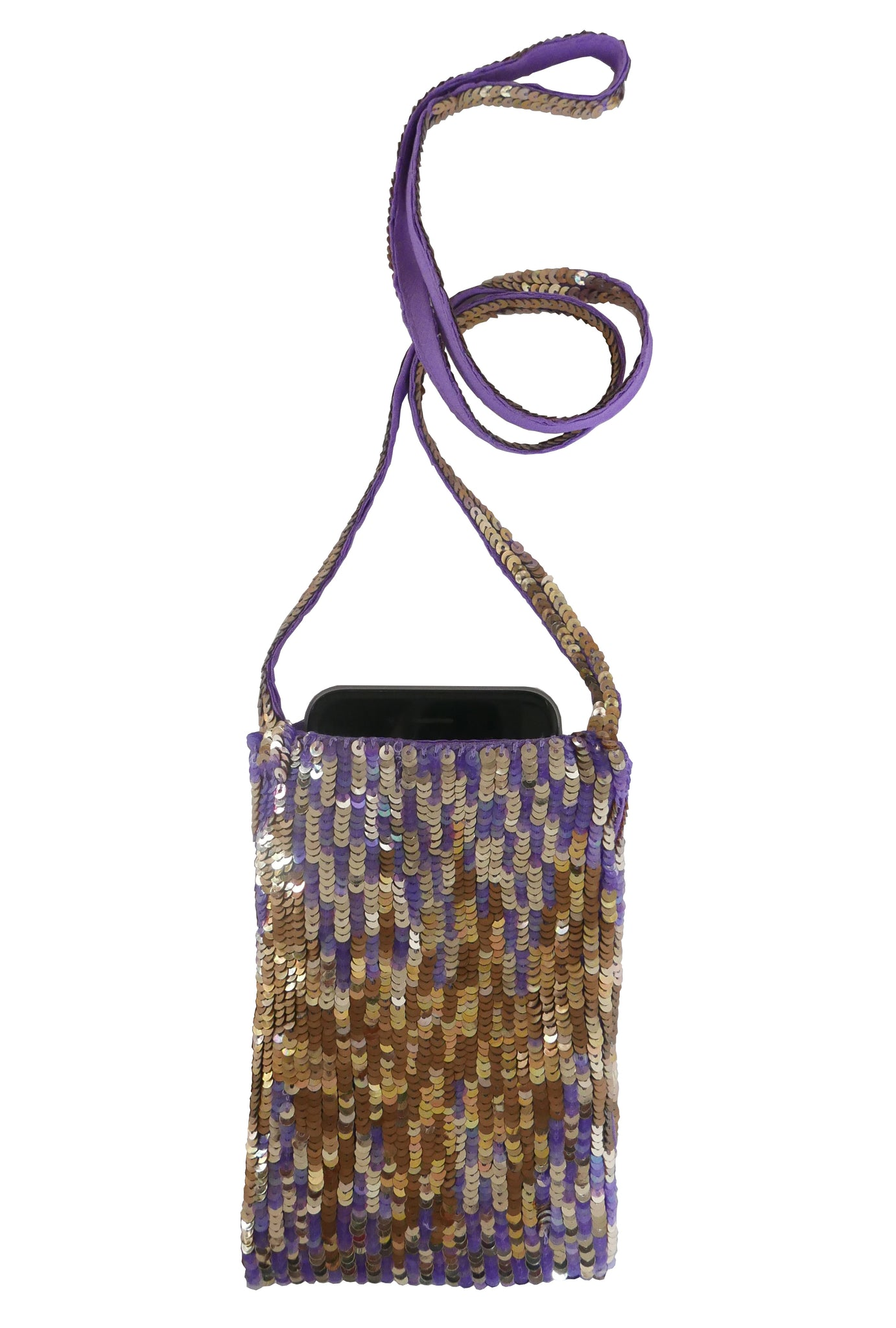 Lyell Violet and gold sequined cell phone neck pouch New