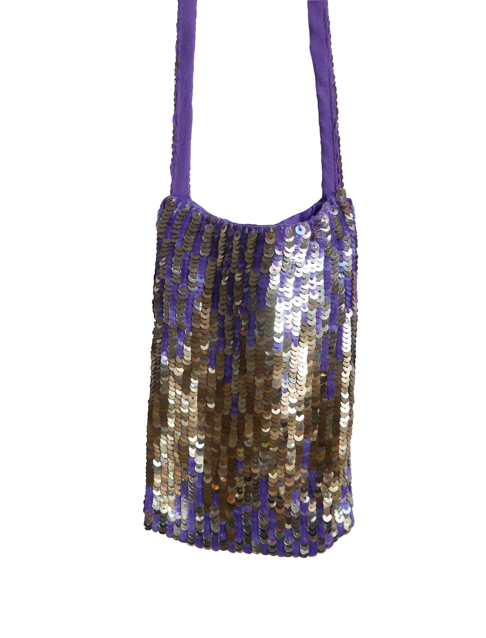 Violet and gold sequined ( cigarette ) cell phone neck pouch