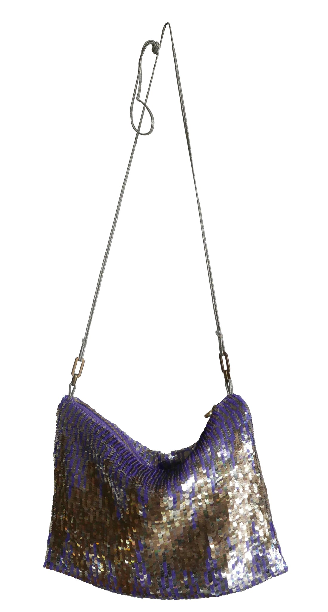 Violet and gold hand sequined purse