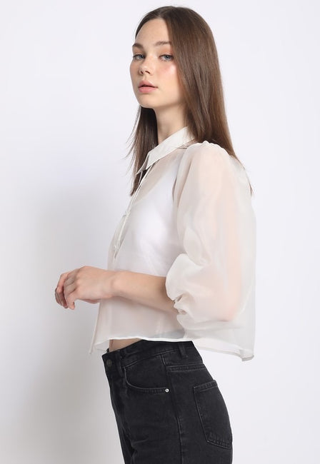 Like Air Puff Sleeve Blouse