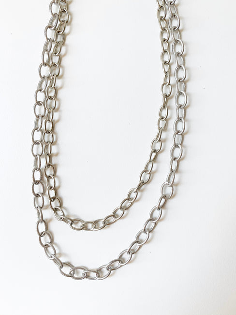 Etched Chain Layer Necklace