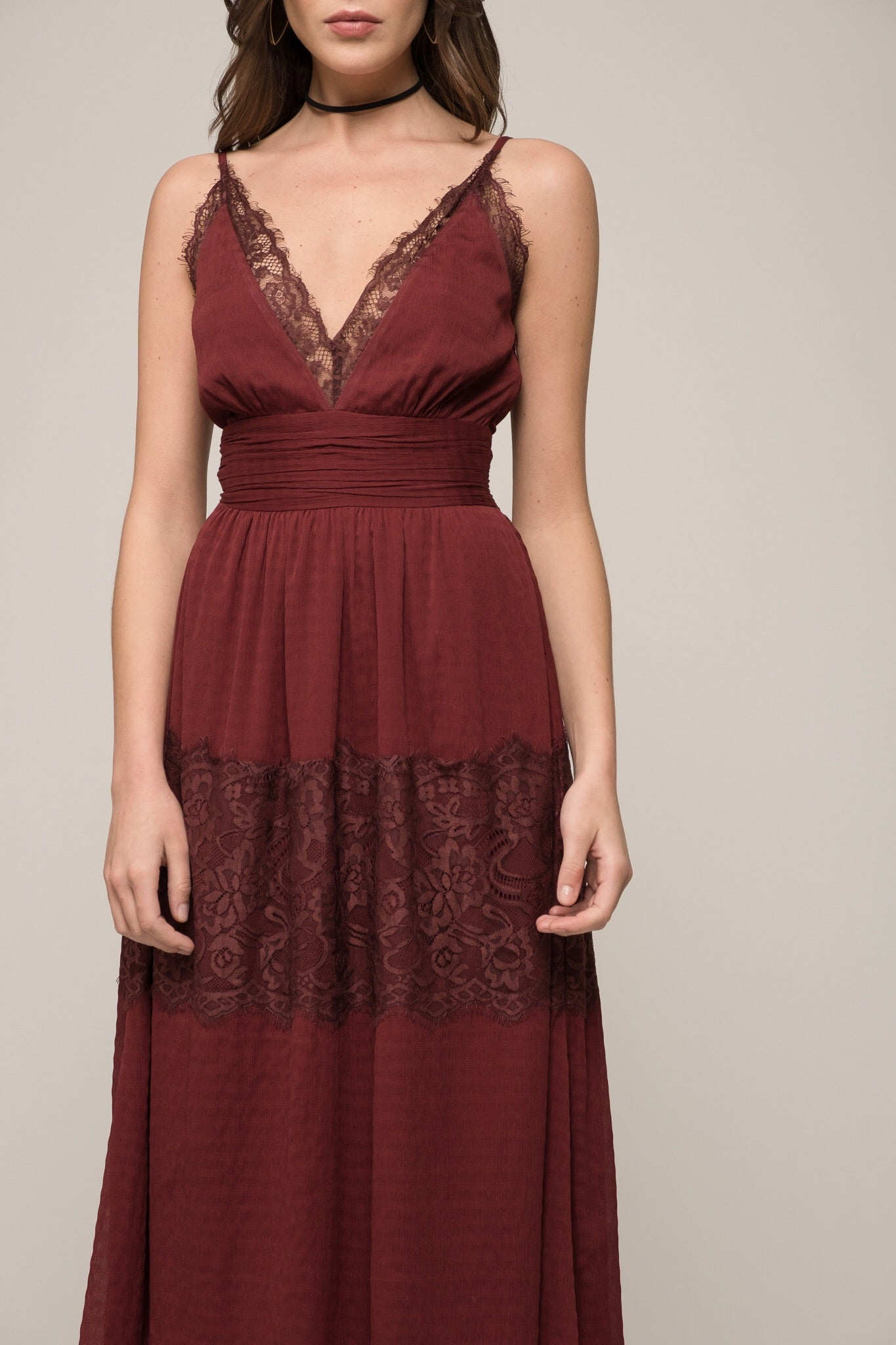 Moon River Messenger Lace Midi Dress