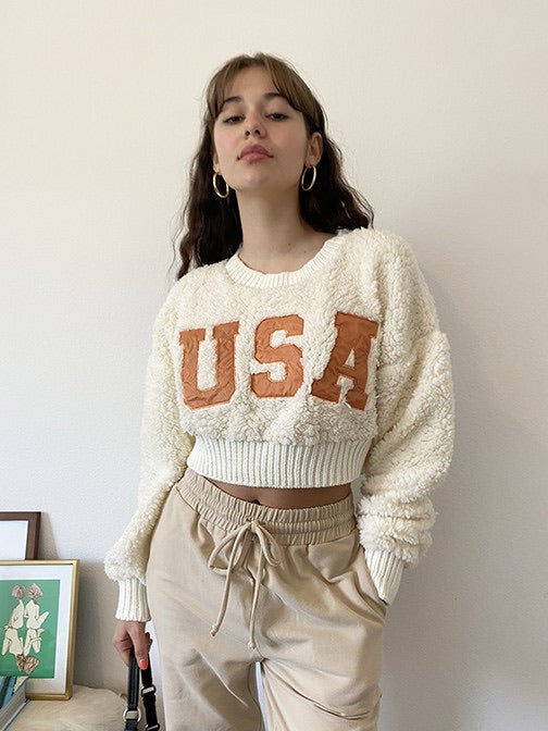 USA Fuzzy Crop Pullover