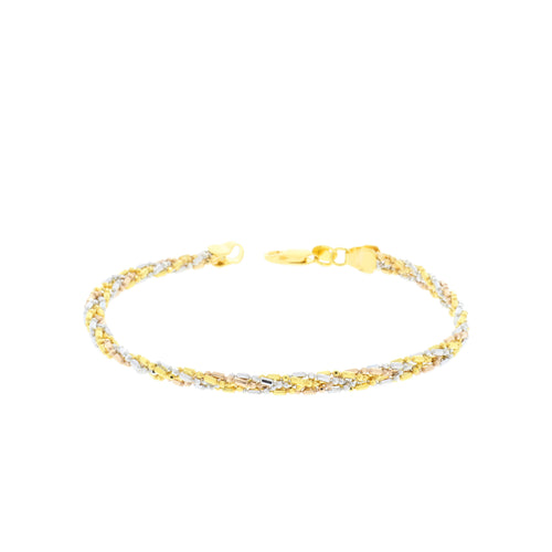 Chic Three-Tone Gold Bracelet