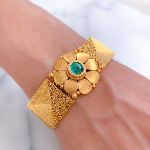 Modern Flower with Green Enamel Bracelet