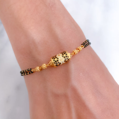 Two Black Bead chain with Enameled touch in Bracelet