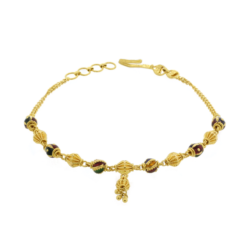 Meena Bracelet With Gold Drop