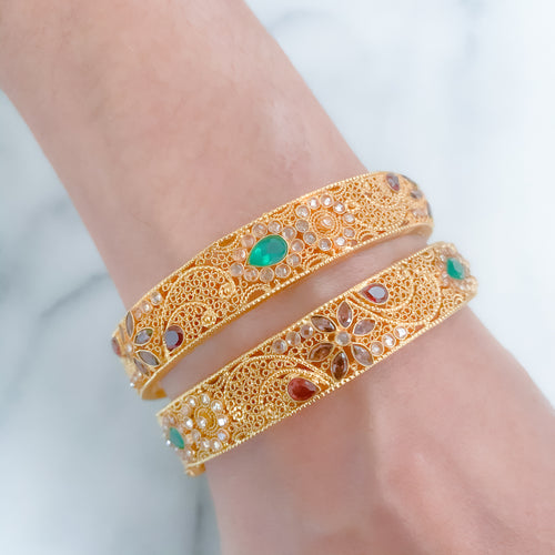 Antique Bangles with Emerald Accents