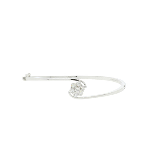 White Gold Flower Bangle Bracelet