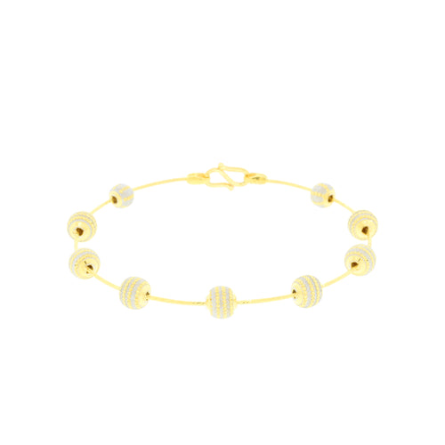 Gold Beaded Bangle Bracelet