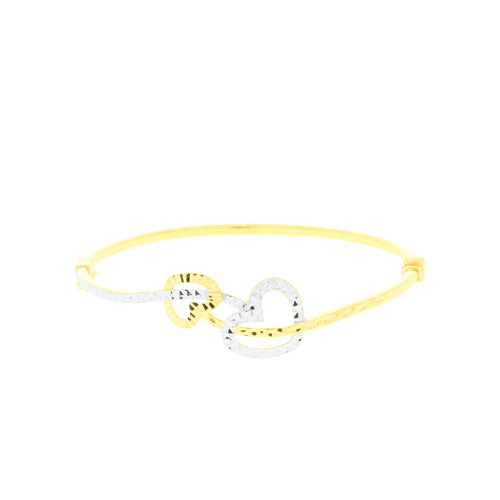 Double Heart Bangle Bracelet
