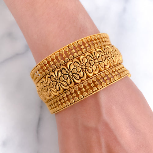 Antique Wide Flower Kada Bangle