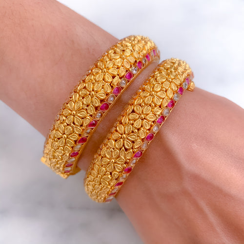 Ruby & Parap on Antique Bangle Pair