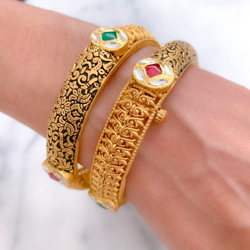 Royal Enamel & Kundan Oxidized Pair of Bangle