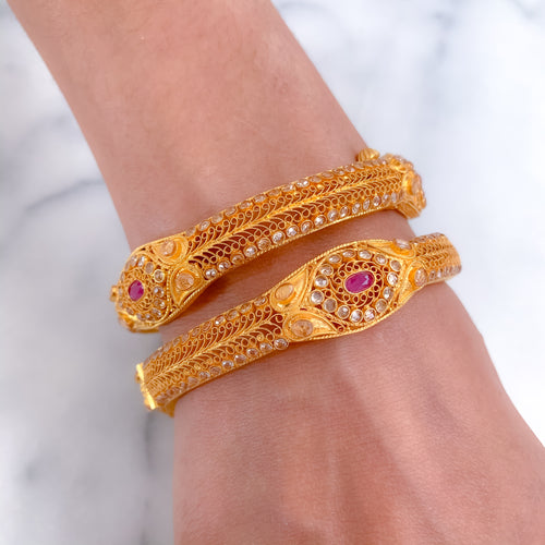 Ruby Ovals Surrounded by Parap in Oxidized Bangle Pair