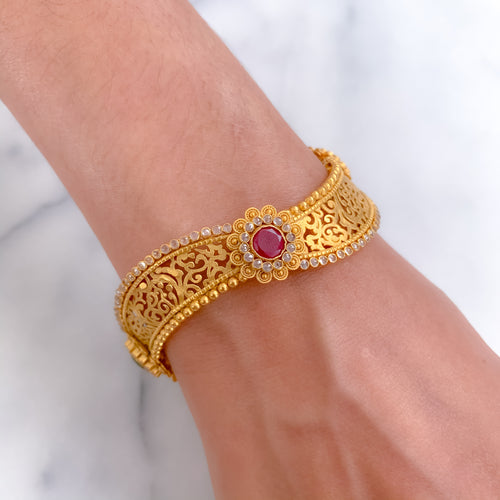 Jali Wave Design with Emerald and Ruby Bangle