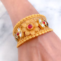 Flower with Red Enamel and Kundan in Cuff Bangle